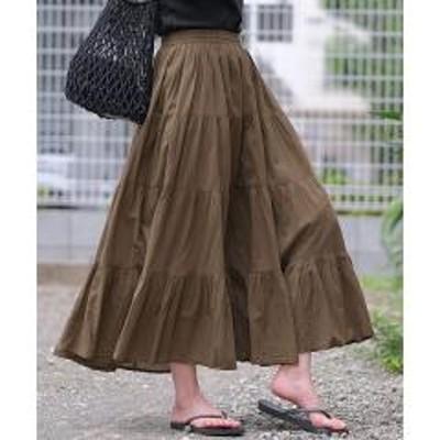 ANDJ(アンドジェイ)インド綿ティアードフレアマキシスカート【お取り寄せ商品】