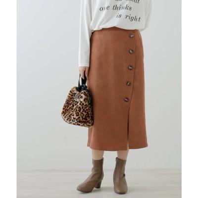 フレームスレイカズン frames RAY CASSIN 起毛ツイルボタン付きナロースカート (オレンジ)