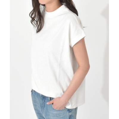 コットン100ハイネックTシャツ/小さめハイネックがシンプルながらもこだわりあるデザイン◎二の腕が細見えする袖もポイント