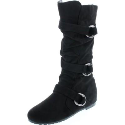 レディース 靴 ブーツ Forever Link Women's Scrunch Buckle Accent Knee High Flat Boot