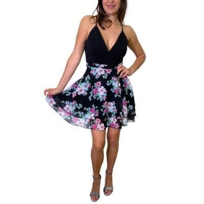 エメラルドサンデー レディース ワンピース トップス Juniors' Lace-Back Floral-Print A-Line Dress