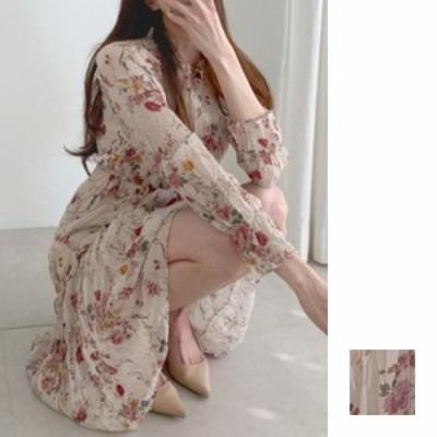 韓国 ファッション レディース ワンピース 夏 春 秋 カジュアル naloI273  シアー シワ加工 シフォン風 フリル ティアード シンプル コー