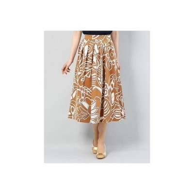 ディノス dinos グログラン素材 フラワープリント スカート (キャメルXオフホワイト)