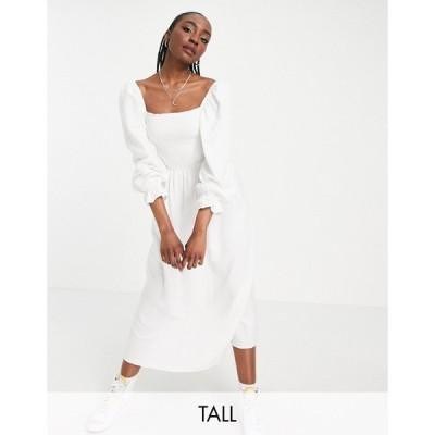 ニュールック New Look Tall レディース ワンピース ミドル丈 ワンピース・ドレス shirred textured midi dress in white ホワイト