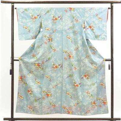 リサイクル着物 小紋 正絹ブルー地花柄袷小紋着物