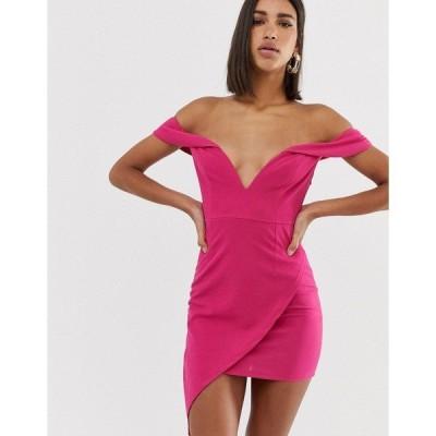 ラブトライアングル レディース ワンピース トップス Love Triangle scuba bardot plunge mini dress with asymmetric wrap skirt in raspberry Raspberry