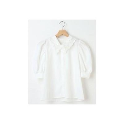 イング INGNI 衿レースパワショル5分袖/BL (オフホワイト)