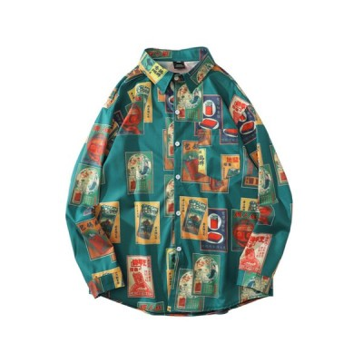 柄シャツ 男女兼用 春秋 長袖 M-2XL 大きいサイズ 薄手 通気速乾 日焼け止め アロハシャツ レトロ