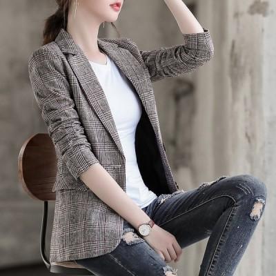 全2色 ショットコート スリム 着痩せ 大きいサイズ チェック柄 韓国風 レトロ調