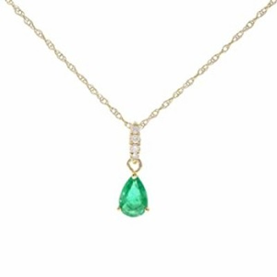 Gin & Grace 10K Yellow Gold Natural Emerald Diamond (I1,I2) Pendant Necklace with Gold Chain for Women Mother's Day Jewelry Gift