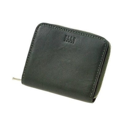 ELLE エルオム 二つ折り財布 ラウンドファスナー  グリーン  父の日 プレゼント 好適品