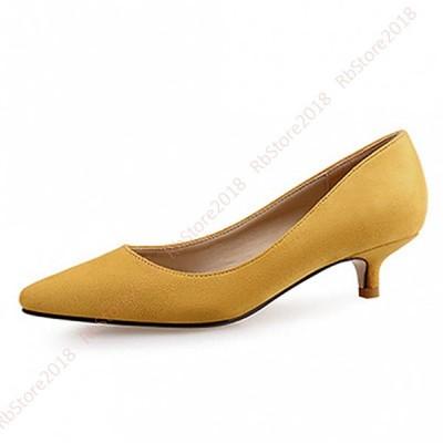 パンプス 走れる スエード 無地 レディース ピンヒール パンプス 痛くない 歩きやすい 靴 ローヒール ポインテッドトゥ 大きいサイズ 黒 杏 ワインレッド