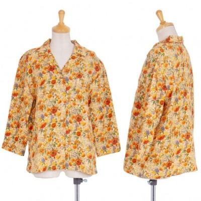 マドモアゼルノンノンMademoiselle NON NON リネンフローラルプリントジャケット オレンジ緑40L 【レディース】