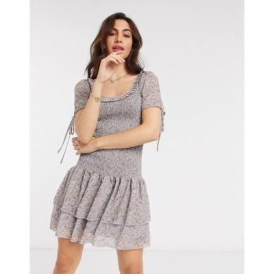 ヴィラ レディース ワンピース トップス Vila mini dress with tiered skirt in ditsy floral Multi