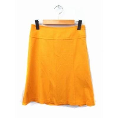 【中古】ナチュラルビューティーベーシック NATURAL BEAUTY BASIC スカート フレア 無地 シンプル ひざ丈 ジップ S イエロー