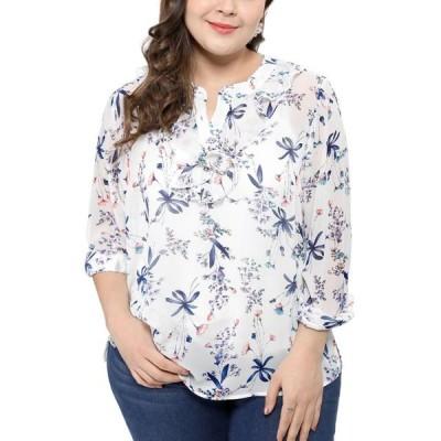 レディース 衣類 トップス Unique Bargains Floral Print Chiffon Blouse Top (Women's Plus) ブラウス&シャツ