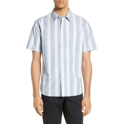 ヴィンス メンズ シャツ トップス Variegated Striped Slim Fit Short Sleeve Shirt SPRUCE BLUE