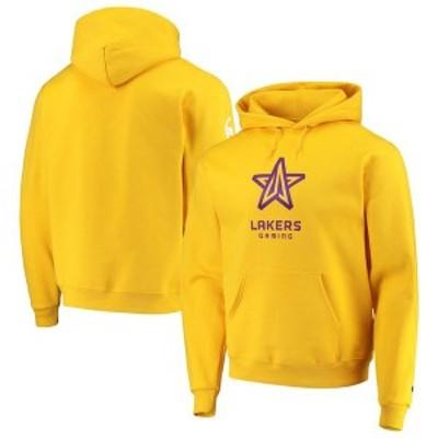 チャンピオン メンズ パーカー・スウェット アウター Lakers Gaming Champion NBA 2K League Powerblend Pullover Hoodie Gold