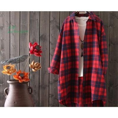 レディース ワイシャツチェック柄 長袖 トップス 大人かわいい 春秋用 カジュアルシャツ 通勤 シャツ