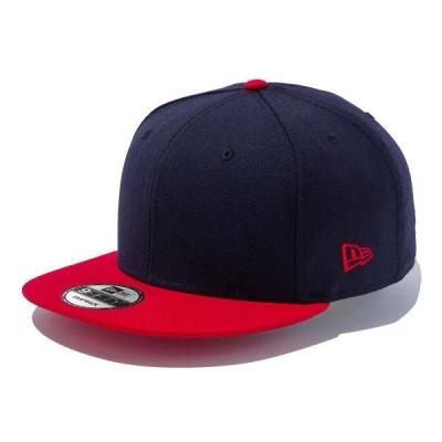 ニューエラ キャップ NEWERA 9FIFTY ベーシック 帽子 無地 ネイビー スカーレットバイザー