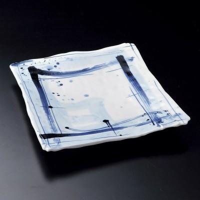陶雅 呉須格子長角9.5皿