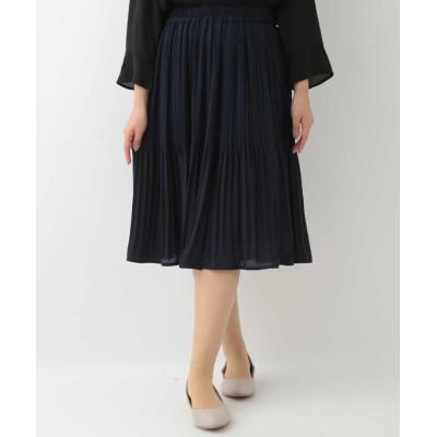 【エウルキューブ】 プリーツスカート レディース ネイビー 13 eur3( 大きいサイズ)