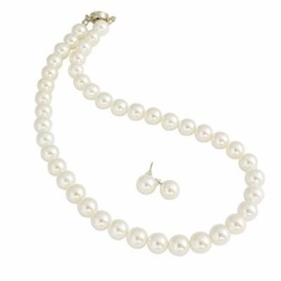 『送料無料!』One&Only Jewellery 貝パール 10mm ネックレス & ピアス 2点セット(ホワイト42cmピアス)