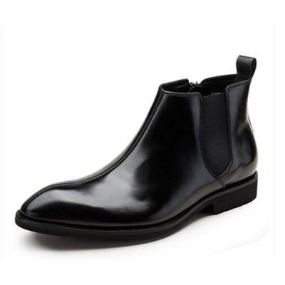 J メンズブーツ ビジネスシューズ 本革 サイドゴア ウイングチップ スワールモカ 革靴 紳士靴 ウエスタンブーツ ショートブーツ 定番シューズ(ブラック)70731