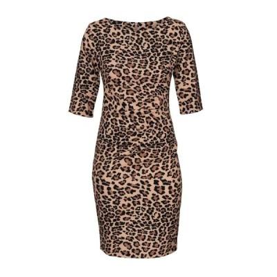 キャロライナ カブール Carolina Cavour レディース ワンピース ワンピース・ドレス Animal Print Dress With Lateral Gather Brown
