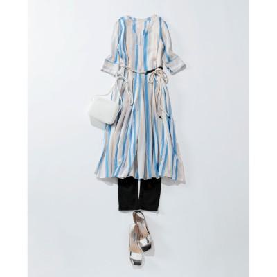 ne Quittez pas(ヌキテパ)/VOILE STRIPE V NECK DRESS