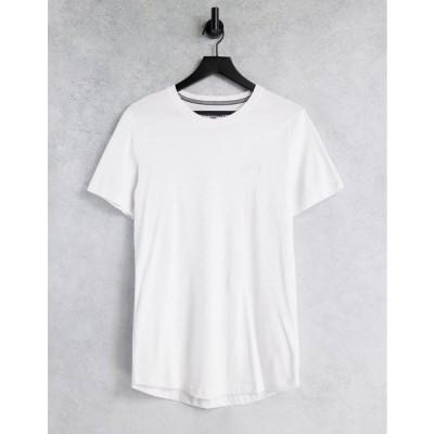 ジャックアンドジョーンズ 半袖Tシャツ メンズ Jack & Jones Core t-shirt with rubber chest logo in white エイソス ASOS ホワイト 白