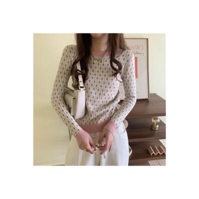 【送料無料】優しい 風 セーターの女性 秋 年 長袖シャツ 着やせ ニット上着 ヘッ   346770_A63658-1851417