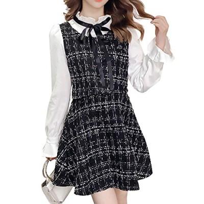 (リボーン)ワンピース 量産型ワンピ フォーマル セット風 長袖 フレア 大人可愛い リボン フリル ツイード 韓国 (ブラック  S)