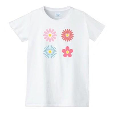花 フラワー Tシャツ 白 レディース 女性用 jfw87