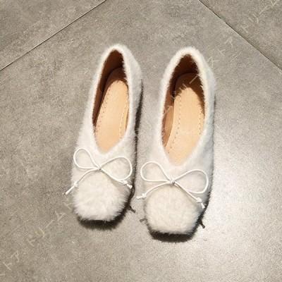 レディース 婦人靴 美脚 パンプス フラットシューズ ローヒール ぺたんこ 歩きやすい シンプル ファー パンプス おしゃれ ふわふわ リボン フラット パンプス