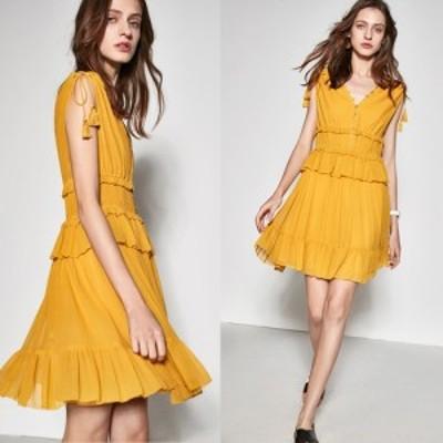 この夏人気!!  ホットなサマードレス 妖精みたい! フリルがいっぱい 胸と背中のダブルVネックシルクドレス  ei0023