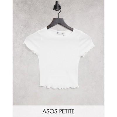 エイソス ASOS Petite レディース ベアトップ・チューブトップ・クロップド Tシャツ ASOS DESIGN Petite crop fitted t-shirt with lettuce edge in white