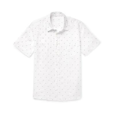 120% リネンシャツ ファッション  メンズファッション  トップス  シャツ、カジュアルシャツ  長袖 ホワイト