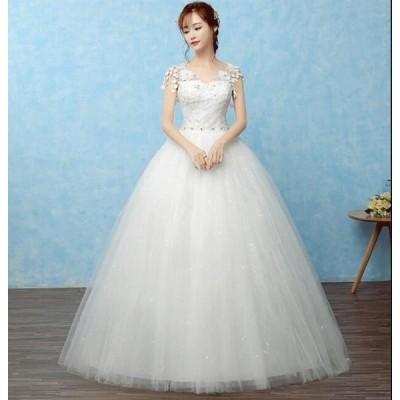 パーティードレス 花嫁 素敵 大きいサイズ 二次会 Aライン ウェディングドレス 着痩せ キレイめ プリンセスライン 結婚式 ブライダル 長いワンピース エレガンス
