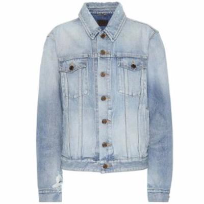 イヴ サンローラン Saint Laurent レディース ジャケット Gジャン アウター Denim jacket Light Sky Blue