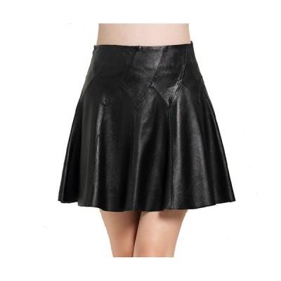 ラムレザースカート サーキュラースカート  フレアースカート 裾切りっぱなし リアルレザースカートウェストの斜線デザインが脚を細く見せてくれるQZ151