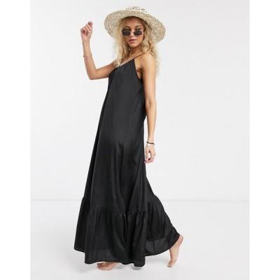 エイソス ビーチドレス レディース ASOS DESIGN tiered maxi beach dress in black エイソス ASOS sale ブラック 黒