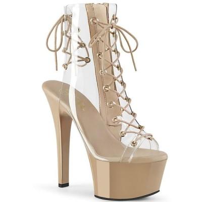 取寄せ靴 PLEASER プリーザー ショートブーツ 15cm ヒール クリア 肌色 ヌード 大きいサイズあり