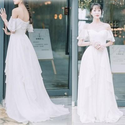 ウェディングドレス2020新品二次会結婚式ロングドレス白ワンピース花嫁安いAライン撮影海外挙式人気編み上げ式パーティードレス