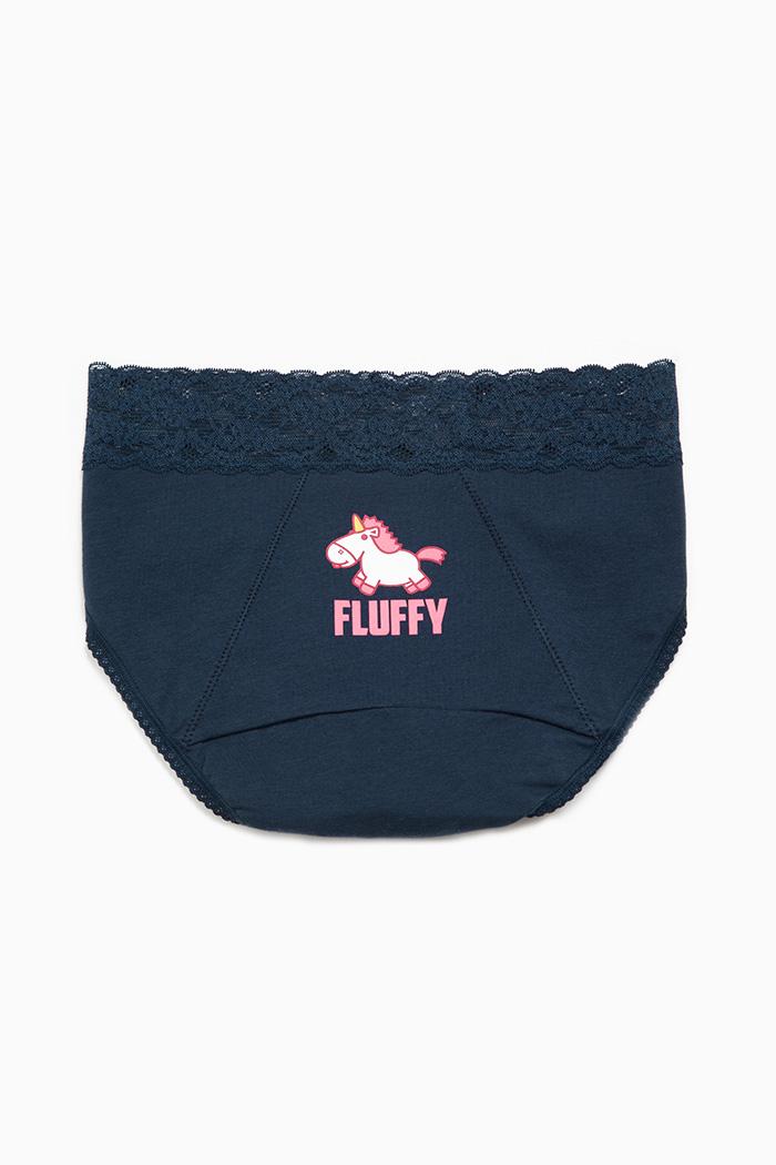 小小兵系列.蕾絲中腰生理褲(黑藍-FLUFFY)