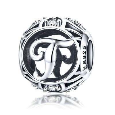 チャーム ブレスレット バングル用 BAMOER バモア BAMOER 925 Sterling Silver Initial Letter A-Z Charms for Bracelet Necklace Alphabet Beads / Letter T