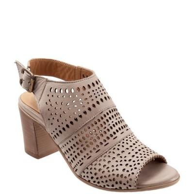 ブエノ レディース サンダル シューズ Upton Perforated Leather Block Heel Sling Sandals Light Grey