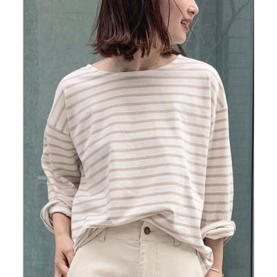 コウベレタス KOBE LETTUCE ゆるチュニックTシャツ [C4452] (オフ×ベージュ)