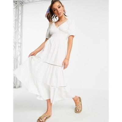 エイソス レディース ワンピース トップス ASOS DESIGN shirred waist lace insert maxi dress in white