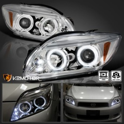 ヘッドライト 2005-2010シオンtC LEDハロープロジェクターヘッドライトクロム左右 2005-2010 Scion t